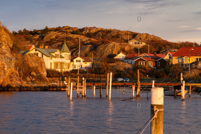 Houses and docks on an insland in the archipelago of Goteborg