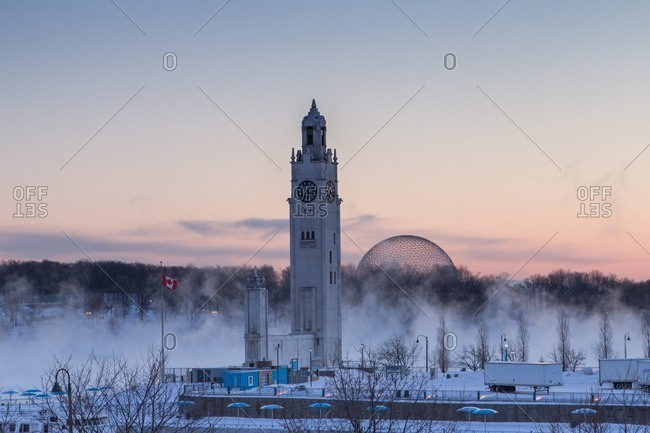 Old Montreal clock tower in the cold winter
