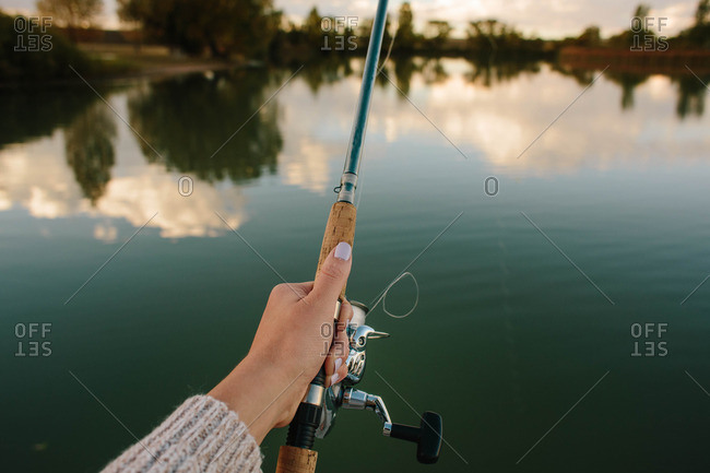 Woman's hand while fishing