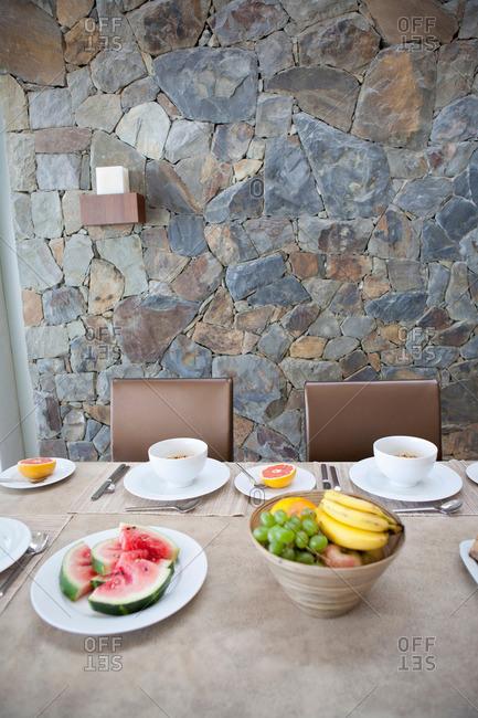 Place settings on breakfast table