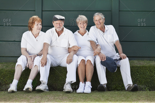 Older couples relaxing outdoors together