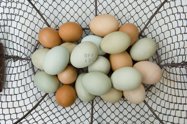 Close up of eggs in basket