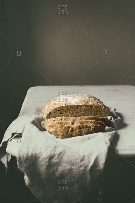 Homemade sliced bread with seeds mixture