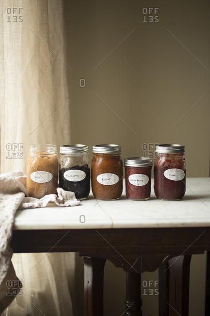 Home made Fruit Preserves in jars