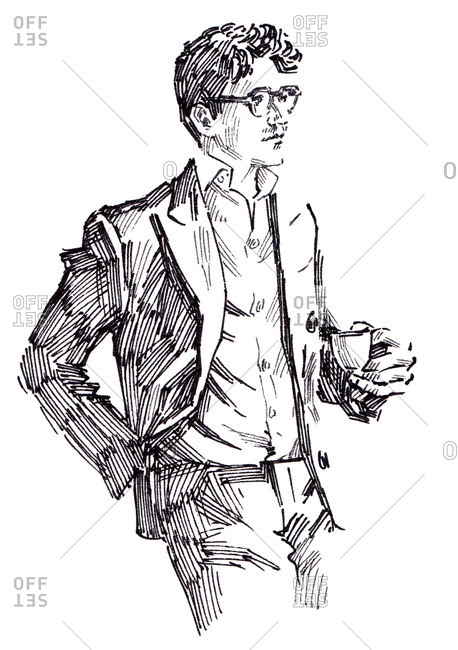 Illustration of man in suit holding coffee cup