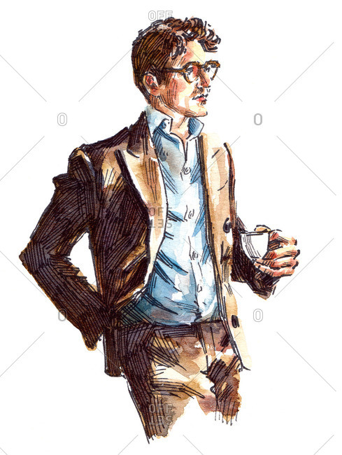Illustration of man in brown suit holding coffee cup