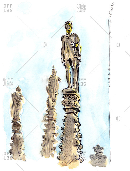 Illustration of statues at the Duomo di Milano in Milan, Italy