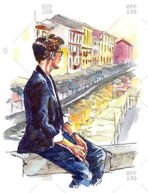 Illustration of man overlooking a canal in Italy