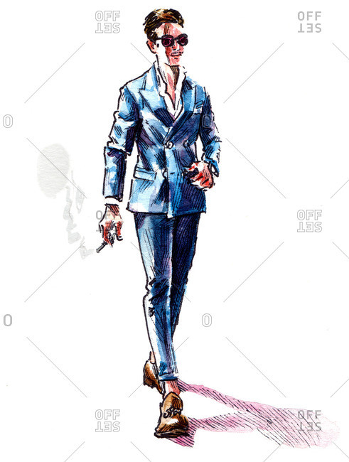 Illustration of man in blue suit smoking