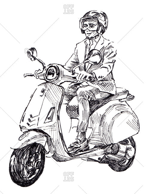 Illustration of man in blue suit riding a motorized scooter