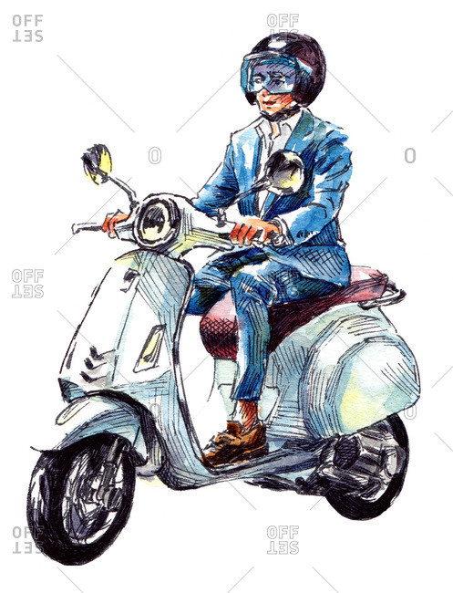 Illustration of man riding a motorized scooter