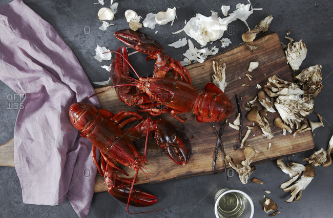 Cooked lobster with ingredients