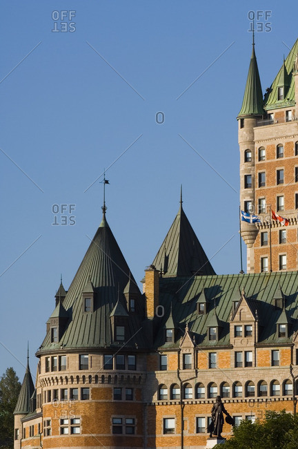 Chateau Frontenac Hotel, Quebec City, detail view from below of turrets, Quebec, Canada.