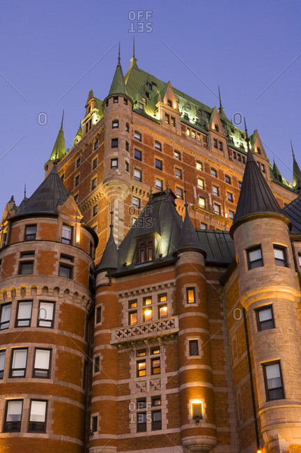 Chateau Frontenac Hotel, Quebec City, morning light, view from terrace Dufferinn, Quebec, Canada.