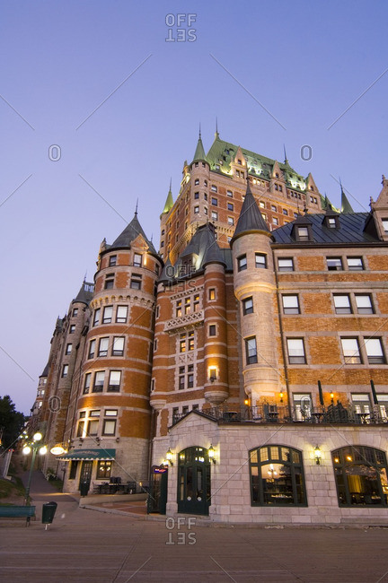 August 27, 2005: Chateau Frontenac Hotel, Quebec City, morning light, view from terrace Dufferinn, Quebec, Canada.