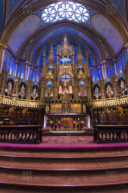 August 21, 2005: Interior alter of Notre-Basilica, at Place d'Armes in Old Montreal, Quebec, Canada.