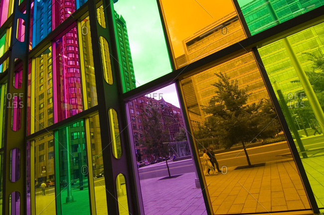 August 23, 2005: Colored glass walls of the Palais de Congress de Montreal (Montreal convention center), Montreal. Quebec, Canada.