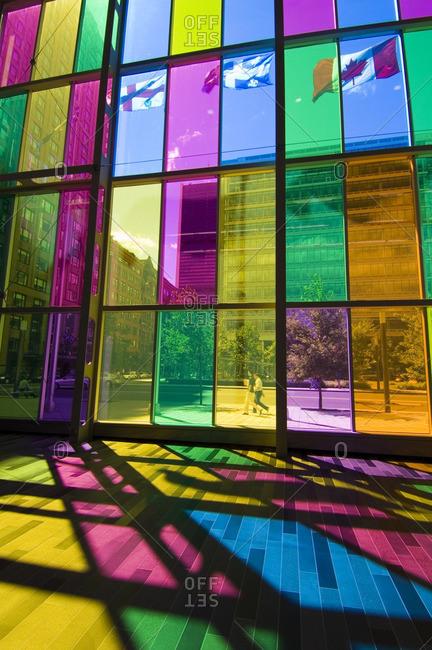 August 23, 2005: Colored glass walls of the Palais de Congress de Montreal (Montreal convention center), Montreal. Quebec, Canada.