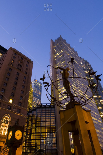 August 16, 2005: BCE building and other downtown high rise buildings at dusk, Toronto, Ontario, Canada.