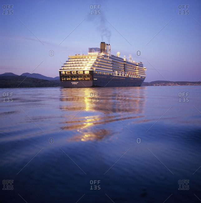 August 15, 2007: Cruise ship off the sunshine coast, British Columbia, Canada.