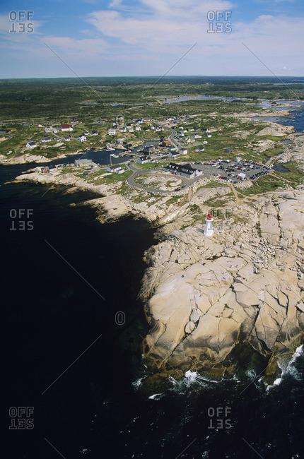 Aerial of Peggys cove, nova scotia, Canada.