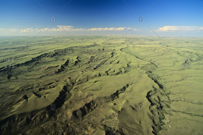Aerial of Grasslands national Park, Saskatchewan, Canada.