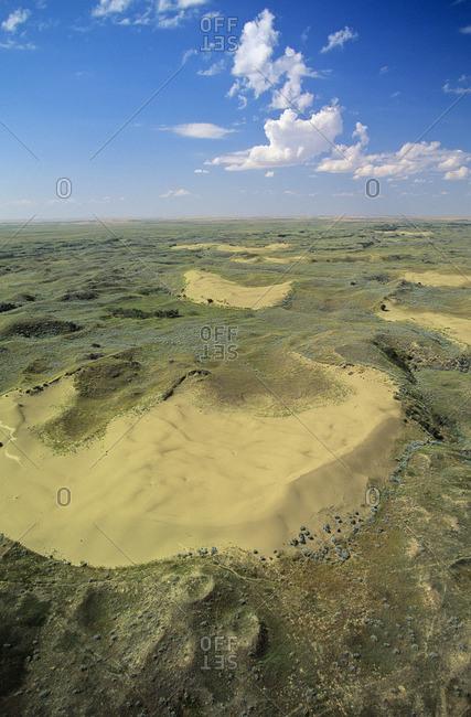 Aerial of the Athabasca Sand Dunes, Saskatchewan, Canada.
