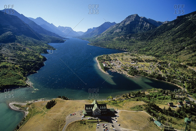 Aerial of the prince of whales hotel, Waterton lakes national park, alberta, Canada.