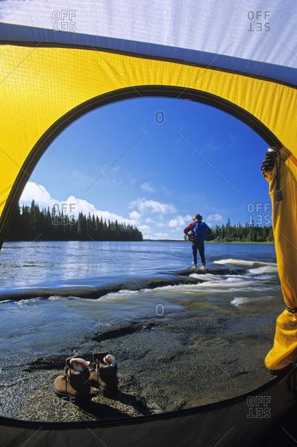 Camping along the Grass River, Manitoba, Canada.
