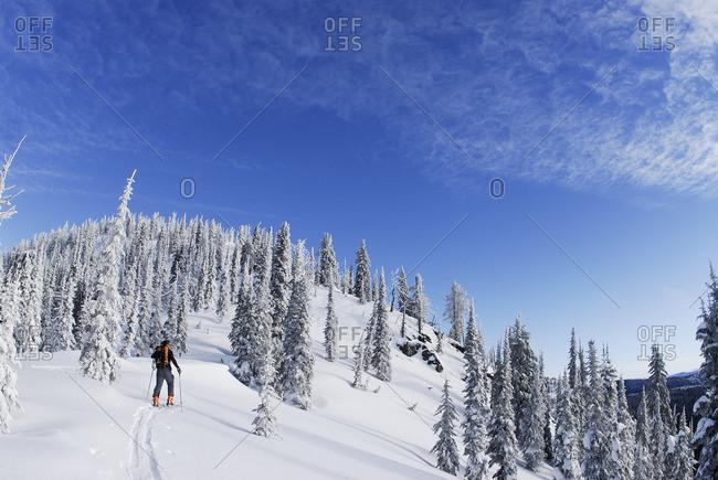 Backcountry skiing on Ripple Ridge. Stagleap Provincial Park. Kootenay Pass, British Columbia, Canada.