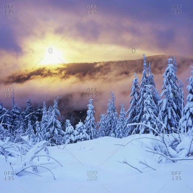 Winter sunset on Mount Elphinestone, Sunshine Coast, British Columbia Canada.