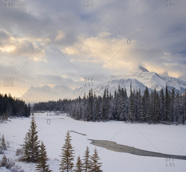 Mount Fryatt and the Athabasca RiverJasper National ParkAlberta, Canada.