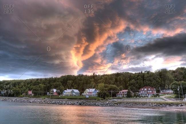 Menacing clouds above the village of Saint-Irenee, Quebec, Canada.