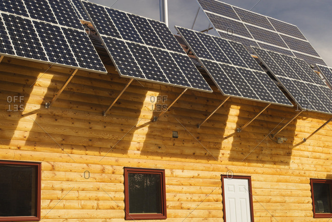 Solar panels, Aurum Lodge, near Nordegg, Alberta, Canada