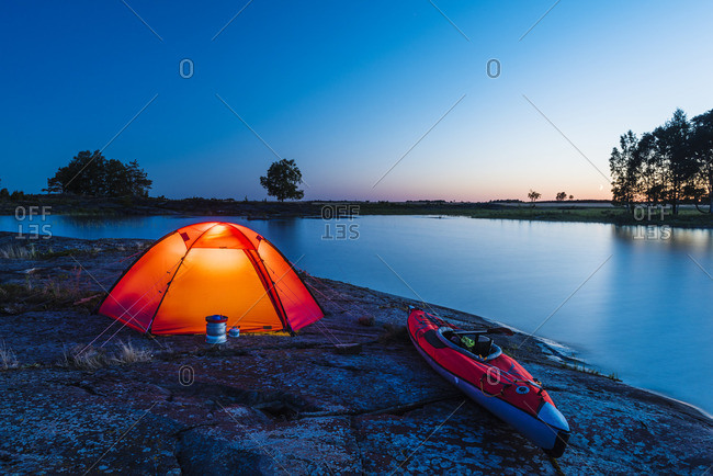 Illuminated tent at sea
