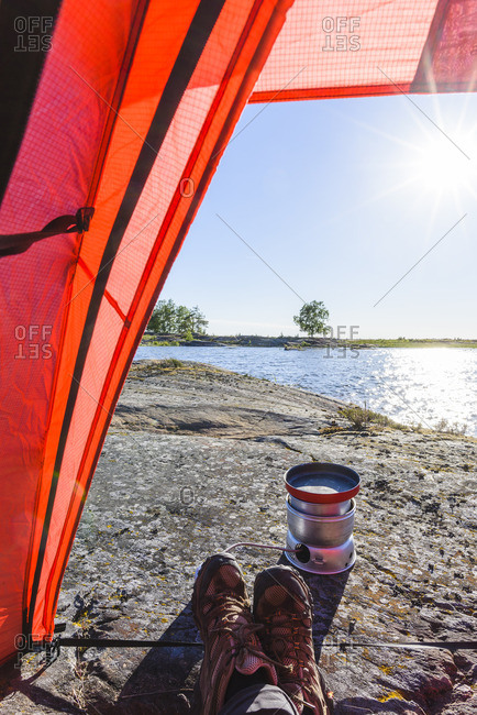 Camping stove seen from tent