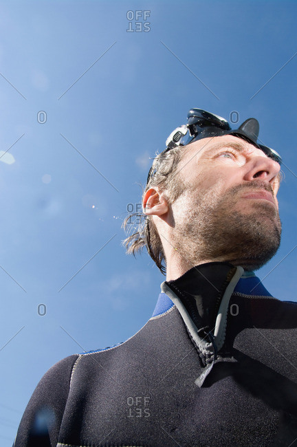 Diver looking up