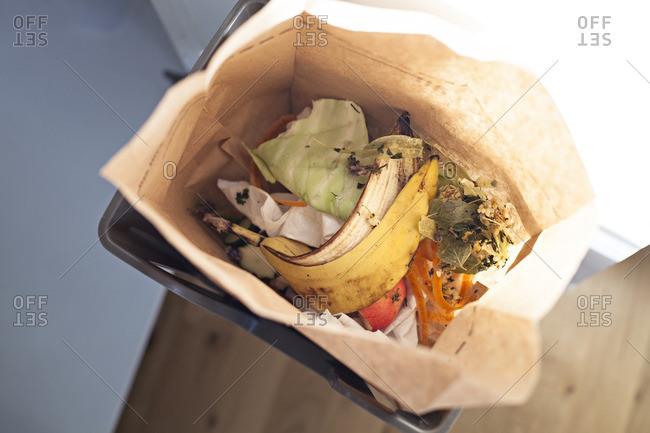 Bag filled with compost trash