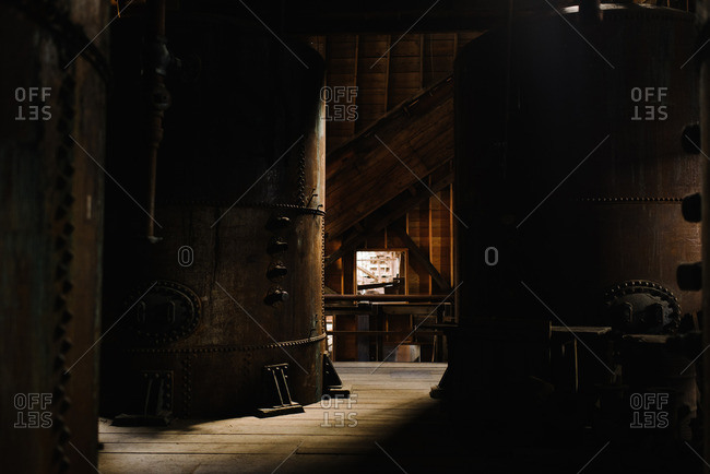 Machinery inside buildings at the Kennecott Mines National Historic Landmark in Kennecott, Alaska