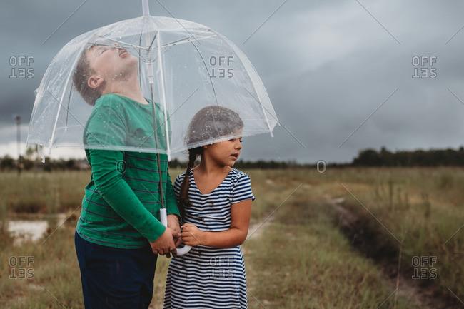 Children standing under a clear umbrella in the rain
