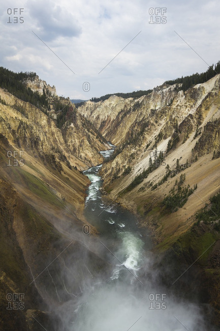 View from the bottom of the Lower Falls Trail looking down the Grand Canyon of Yellowstone National Park in Wyoming