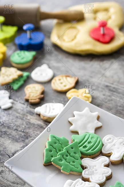 Fresh Christmas cookies and dough