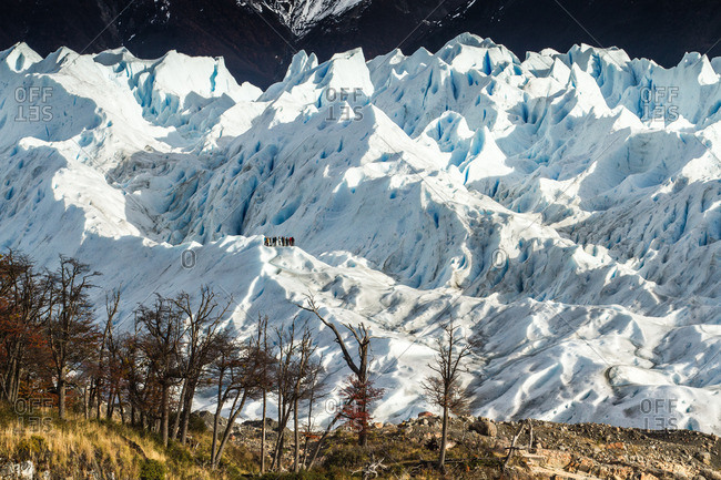 Tourists hiking in glaciers, Argentina