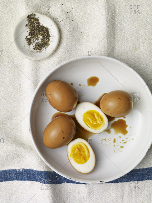 Hard boiled eggs with soy sauce