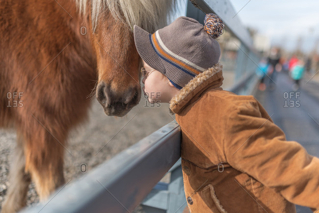 Little boy nuzzling a horse