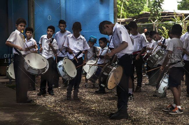 Nicoya, Costa Rica, Central America - August 27, 2014: Children playing in a local band preparing themselves for a local festivity