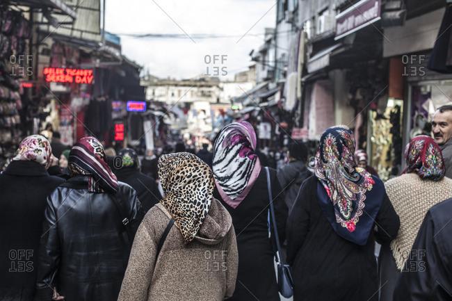 Istanbul, Turkey, Middle east - January 5, 2015: Women walking in the street