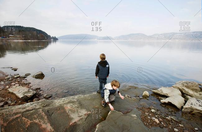 2 boys at lake