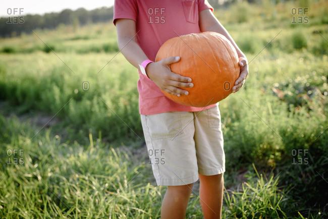 Child holding a pumpkin in field