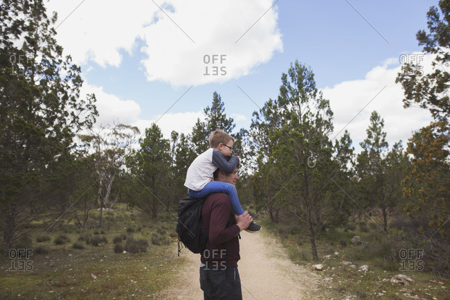 Boy on man's shoulders in country